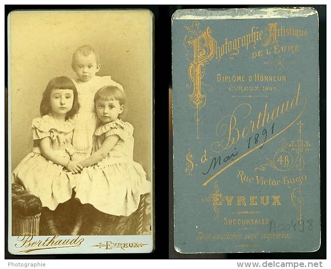 Jeunes Enfants Portrait Mode 27000 Evreux Ancienne Photo CDV Berthaud 1890 - Photographs