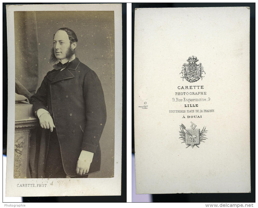 France Lille Homme Mode Du Second Empire Ancienne CDV Photo Carette 1870 - Photos