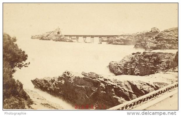 France Old CDV Photo 1880 Biarritz Virgin Rock Bridge - Photographs