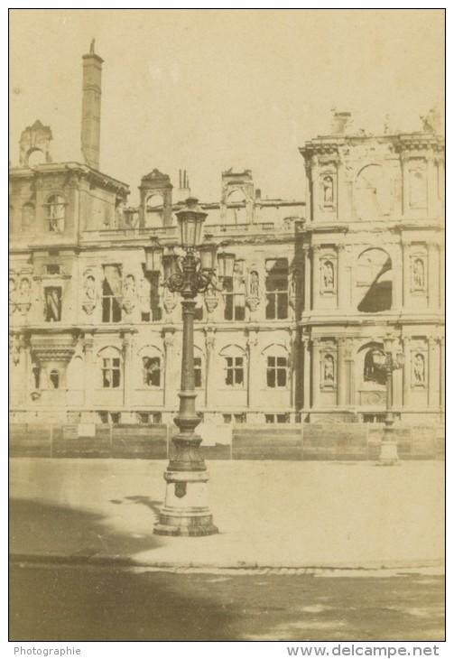 France Paris Ruines De L'Hotel De Ville Commune Ancienne Photo CDV Anonyme 1860 - Photographs