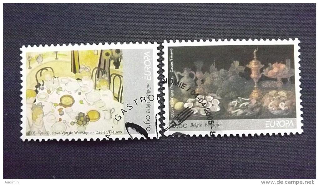 Belgien 3437/8 Oo/ESST, EUROPA/CEPT 2005, Gastronomie - Belgium