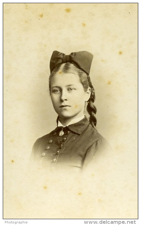 Femme Costume Mode Rouen France Ancienne Photo CDV Witz 1870 - Photographs