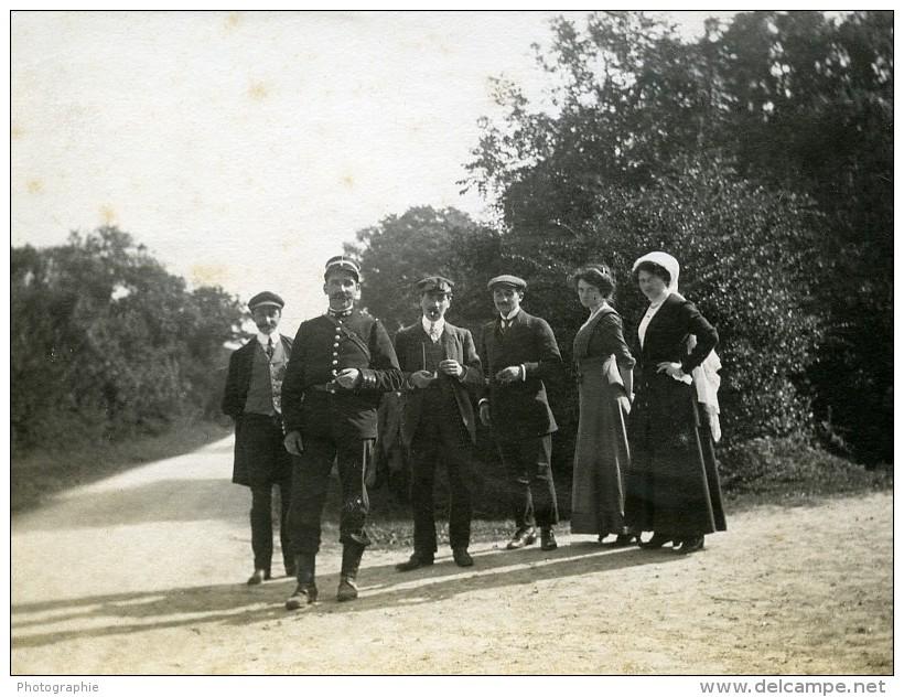 France Un Dimanche à La Campagne Groupe Garde Chasse ? Ancienne Photo 1890 - Photographs