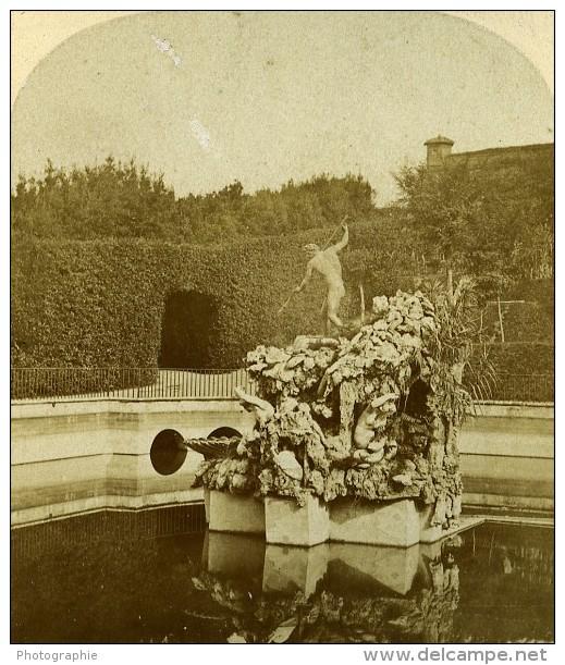 Fontaine Au Jardin Boboli Florence Italie Ancienne Stereo Photo Alexis Gaudin 1859 - Stereoscopic