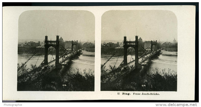 Autriche Hongrie Prague Pont Francois Joseph Ancienne Photo Stereo NPG 1900 - Stereoscopic