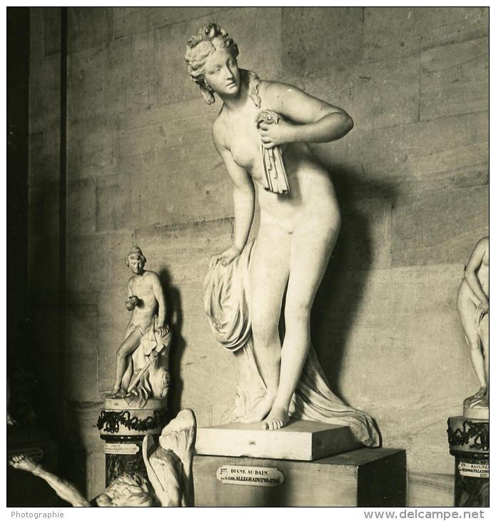 France Paris Musée Du Louvre Sculpture De Allegrain Ancienne Photo Stereo NPG 1900 - Stereoscopic