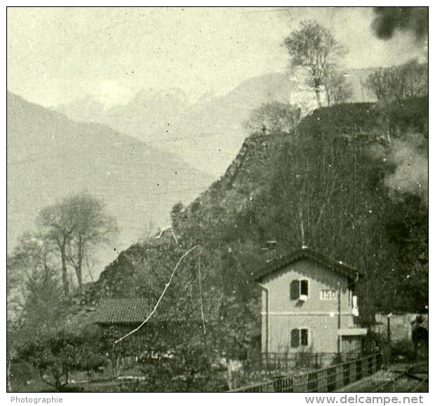 Suisse Alpes Magadino Train Possemiers Ancienne Stereo Photo 1910 - Stereoscopic