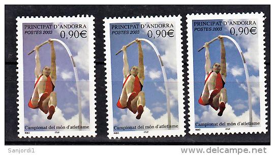Andorre 583 Variété 3 Nuances Bleu,bleu Gris, Violet Saut à La Perche 2003 Neuf ** TB MNH - Andorre Français