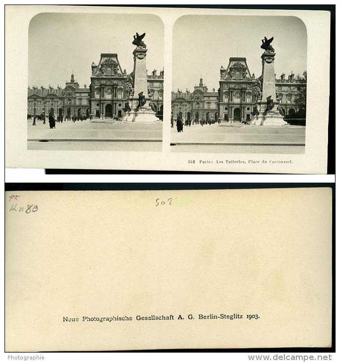France Paris Tuileries Place Du Carroussel Ancienne NPG Stereo Photo 1900 - Stereoscopic