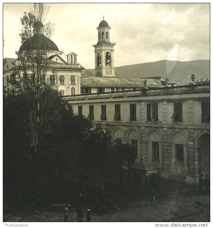 Italie Ligurie Riviera Chiavari Seminaire Ancienne NPG Stereo Photo 1900 - Stereoscopic