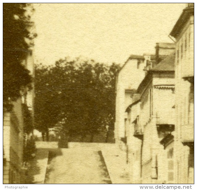 France Pau La Rue Marca Ancienne Photo Stereo 1865 - Stereoscopic
