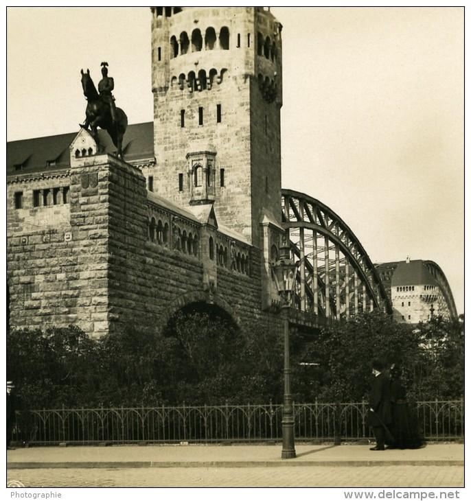 Allemagne Le Rhin Cologne Koln Pont Hohenzollern Ancienne Stereo Photo Stereoscope NPG 1900 - Stereoscopic
