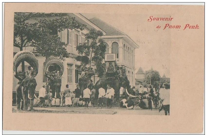 CPA CAMBODGE CAMBODIA Souvenir De Pnom Penh Elephants 1904 - Cambodia