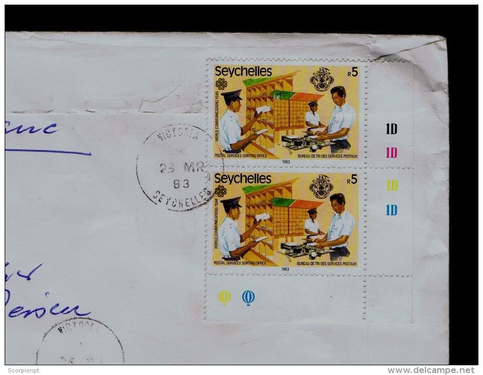 Courrier Mail Postmen Poste Post Office RADIO Seychelles Communications Services Postaux Cover 1983 Pmk Kronberg Sp226 - Post
