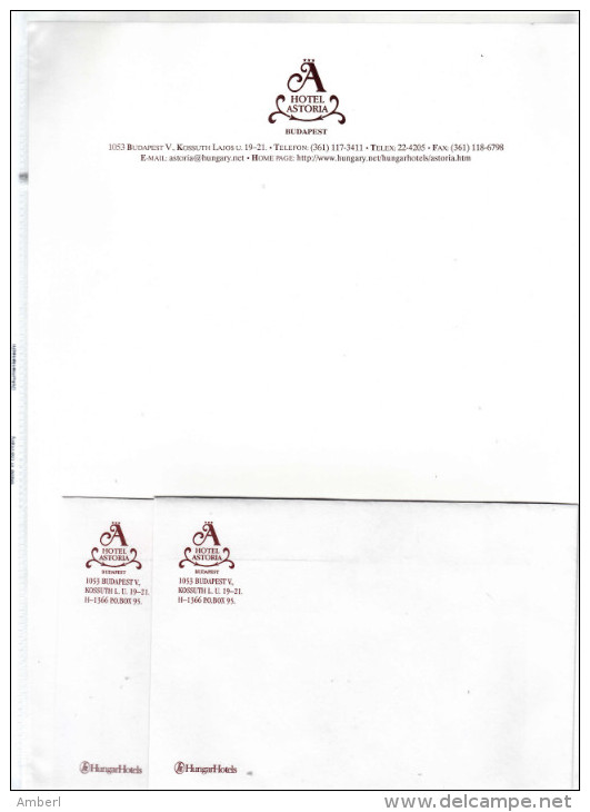 Hongarije Budapest Hotel  Astoriareklame  Briefhoofd, Envellop & Documentatie - Etiquettes D'hotels