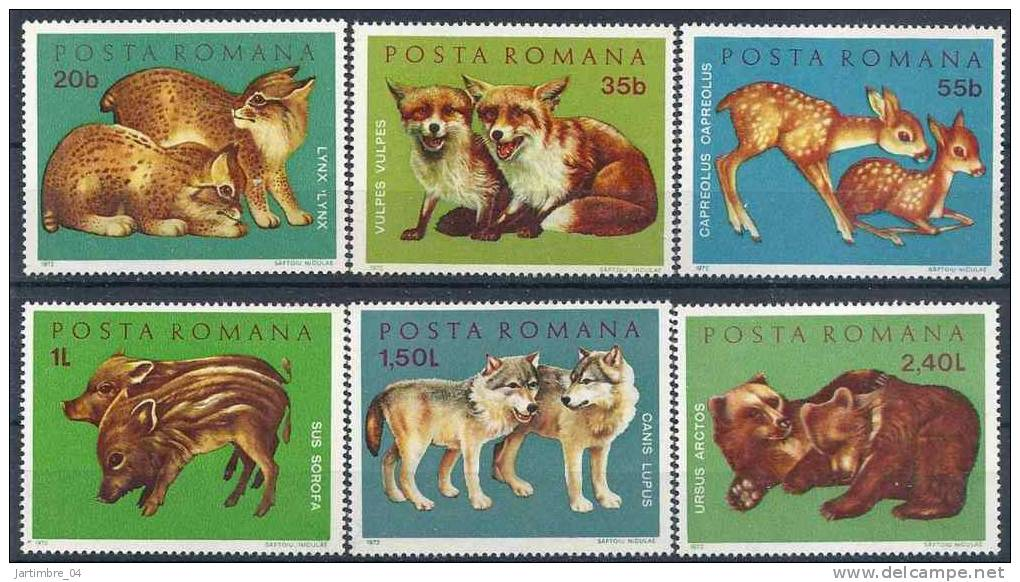 1972 ROUMANIE 2674-79** Animaux, Loups, Ours - 1948-.... Republics