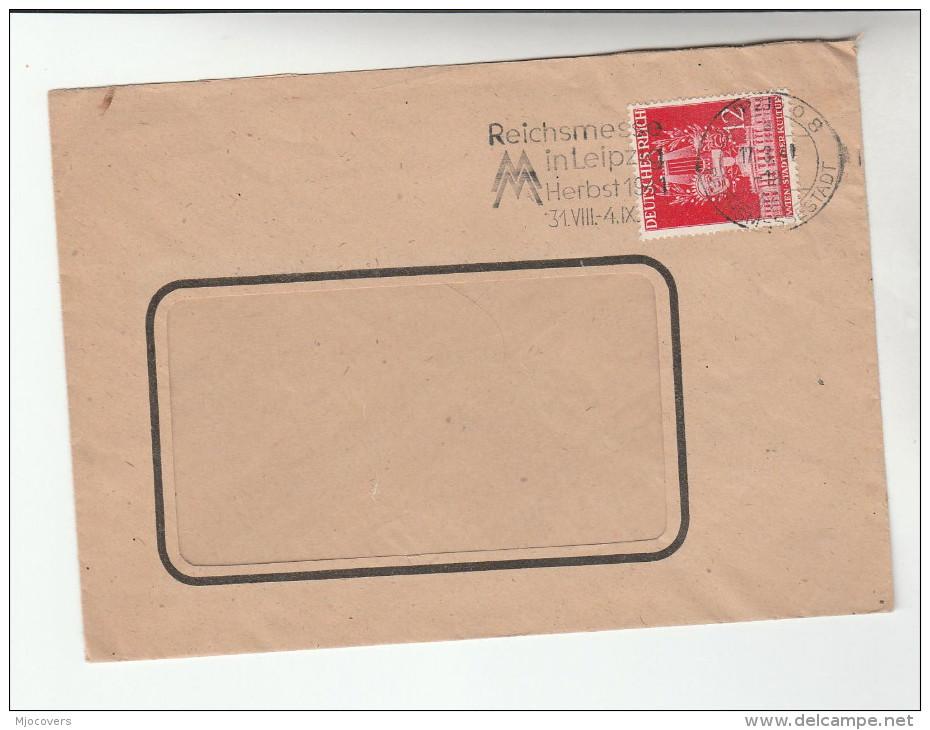 1941 Leipzig GERMANY  COVER 12pf  Vienna Culture Stamps SLOGAN Pmk REICHSMESSE IN LEIPZIG HERBST - Cartas