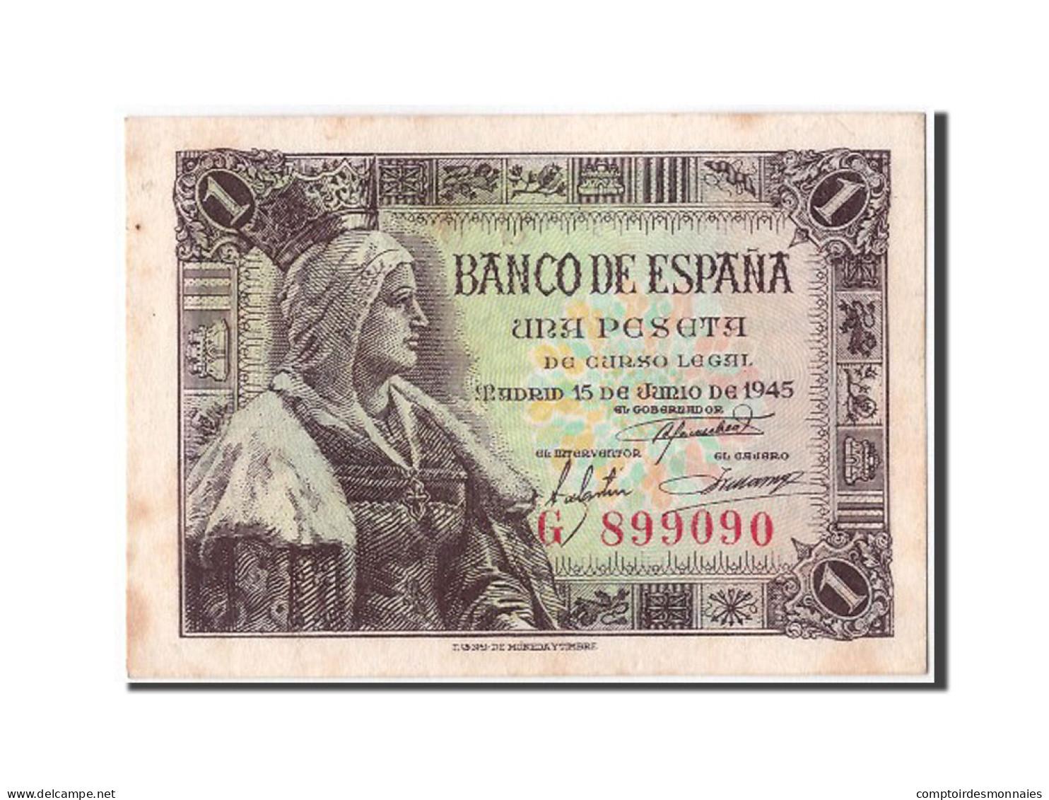 [#304253] Espagne, 1 Peseta Type Reine Isabel - [ 3] 1936-1975 : Régence De Franco