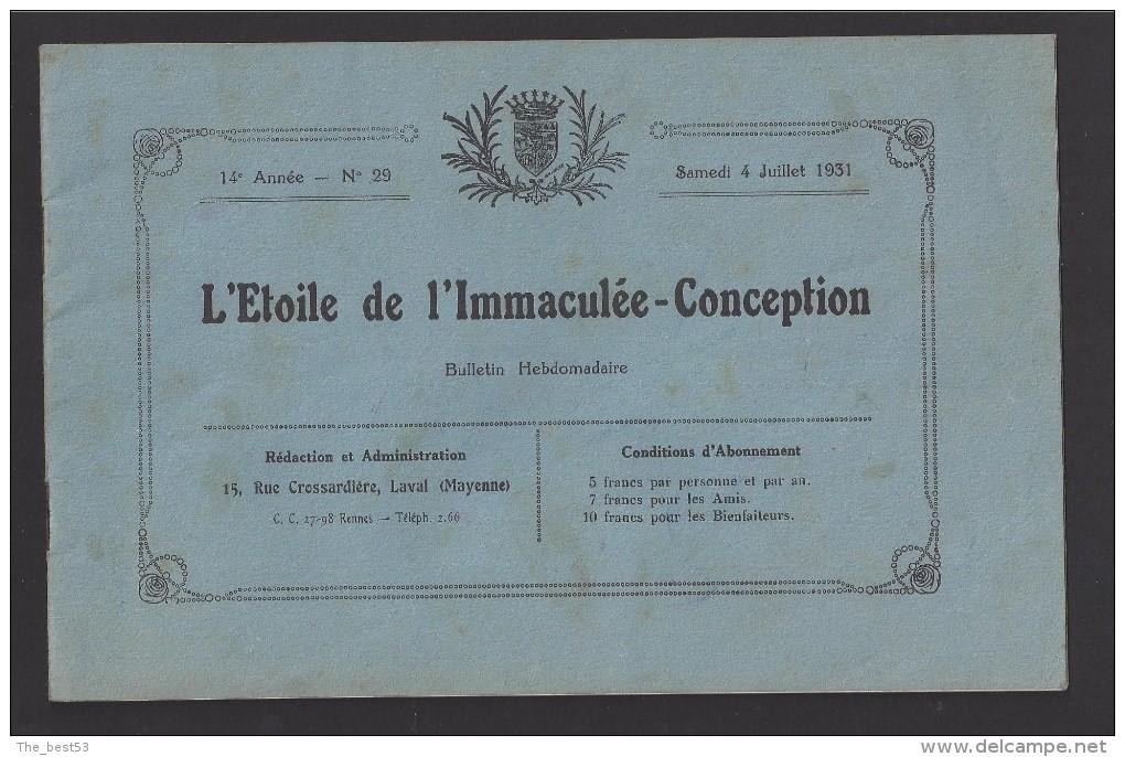 Bulletin Hebdomadaire De L'Etoile De L'Immaculée Conception De Laval (53) Samedi 4 Juillet 1931 - Livres Pour Enfants