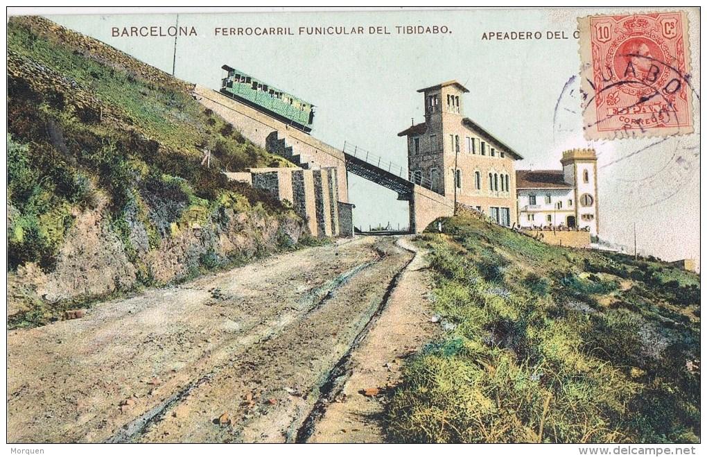 12594. Postal TIBIDABO (Barcelona) 1910. Fechador Violeta. Apeadero Estacion Funicular - 1889-1931 Royaume: Alphonse XIII