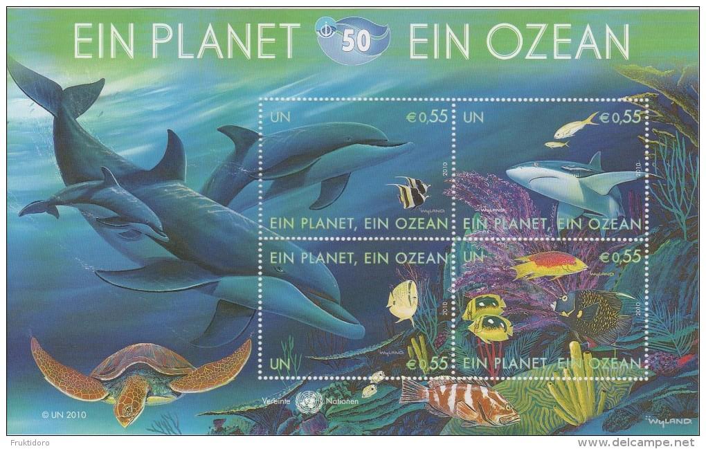 United Nations Block 26 - 50th Ann. International Oceanographic Commission - Dolphin - Turtle - Shark * * 2010 - New York - Hoofdkwartier Van De VN