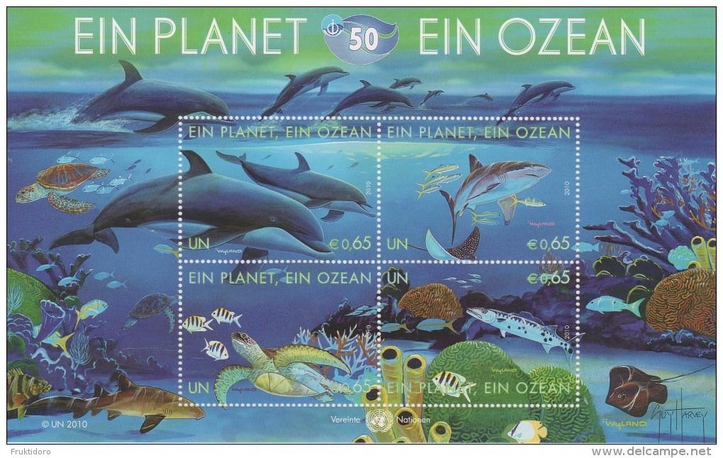 United Nations Block 27 - 50th Ann. International Oceanographic Commission - Dolphin - Turtle - Shark * * - 2010 - Blokken & Velletjes