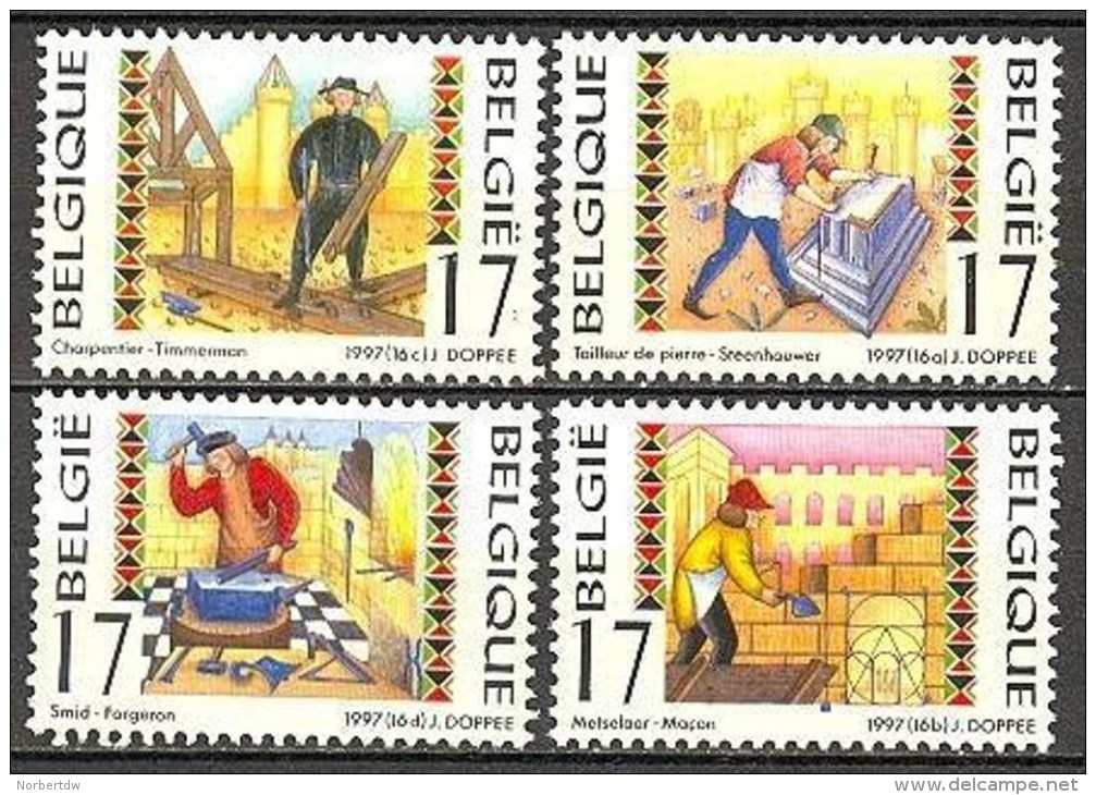 Belgium**Blacksmith-Carpenter-Mason-StoneSculptor-4vals-1997-Craftsmen-MNH-Métiers-AMBACHTEN - Belgium