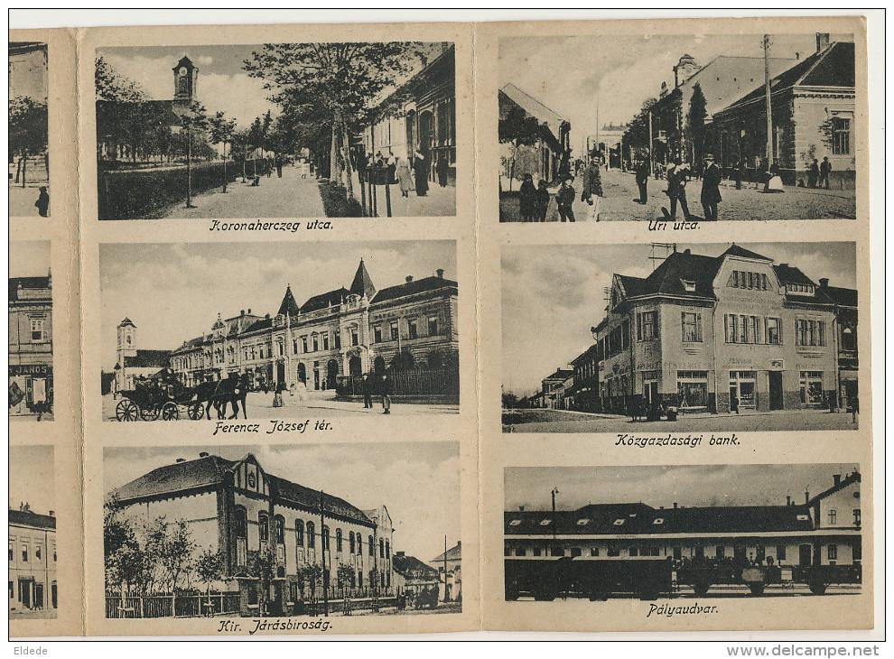 Kikinda Nagykinda Mechanical 5 Fold Card 13 Views Horse Tram, Train Station, Kozgazdasagi Bank Etc - Serbie