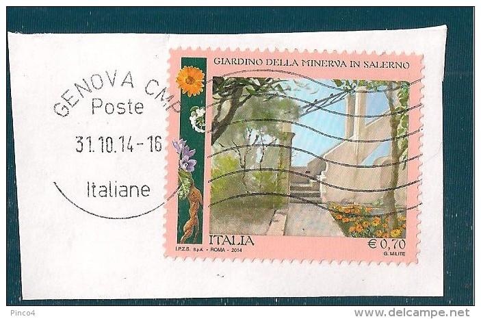 ITALIA REPUBBLICA  0,70 2014 USATO SU FRAMMENTO - 6. 1946-.. Repubblica