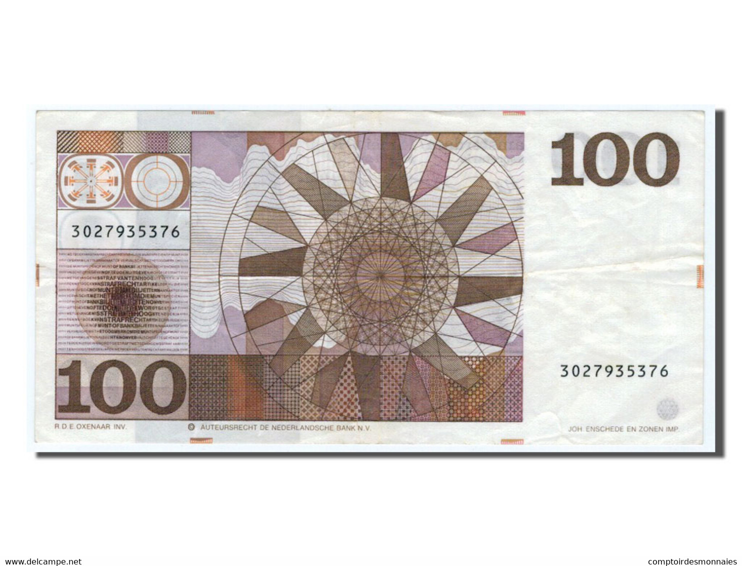 Pays-Bas, 100 Gulden Type 1966-72, Pick 93a - 100 Florín Holandés (gulden)