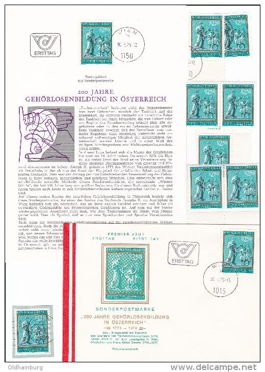 1347u: Gehörlosenbildung, Österreich 1979, ETB+ FDC+ 8 Stück **/o - Behinderungen