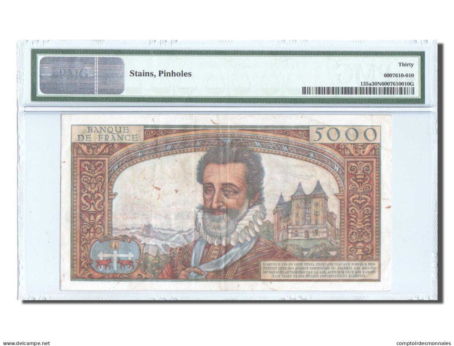France, 5000 Francs, ''Henri IV'', 1957, KM:135a, PMG VF30 - 1871-1952 Anciens Francs Circulés Au XXème