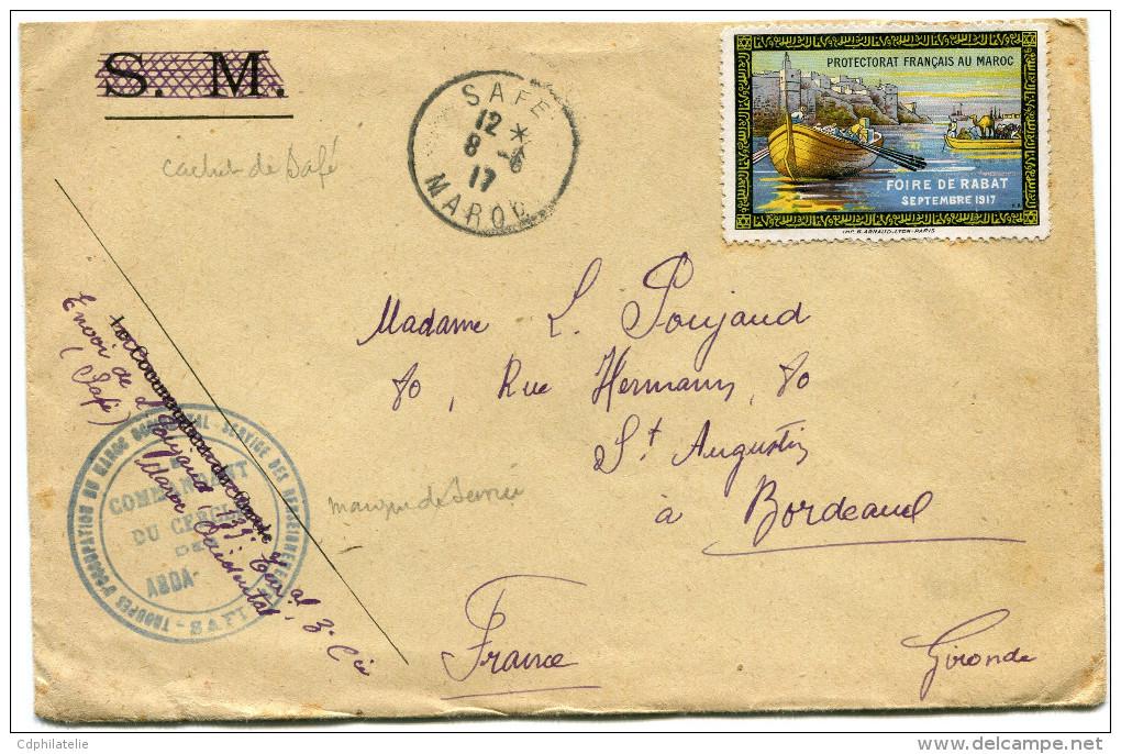 MAROC LETTRE (FM) AVEC VIGNETTE DE LA FOIRE DE RABBAT SEPTEMBRE 1917 DEPART SAFE 12-6-17 MAROC POUR LA FRANCE - Morocco (1891-1956)