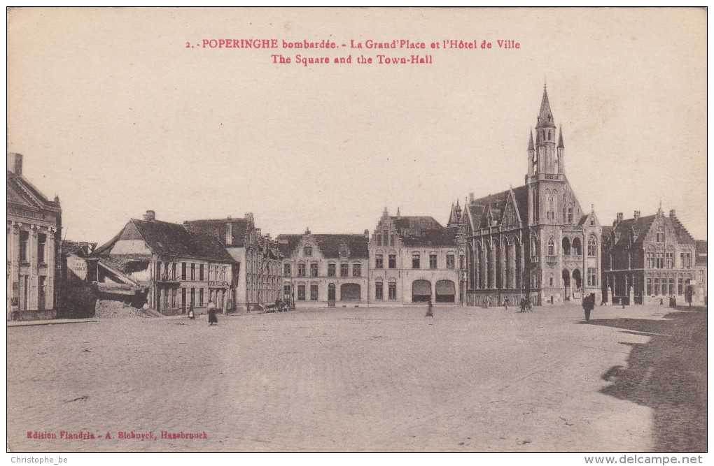 Poperinge, Poperinghe Bombardée, La Grand Place Et L'Hôtel De Ville (pk16713) - Poperinge
