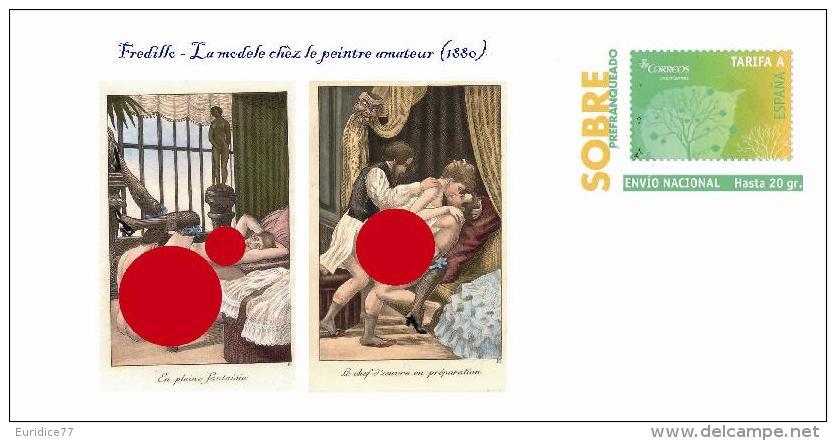 Spain 2014 - Fredillo (La Modèle Chez Le Peintre Amateur,1880) - Nude In The Art Special Prepaid Cover - Drawings