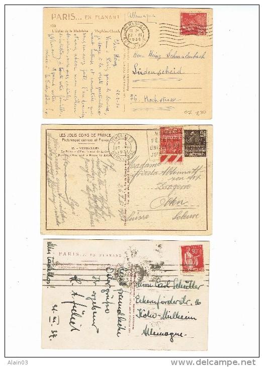 Lot De 3 CPA Affranchies à 90c Pour Allemagne Et Suisse, Années 30 - Lettres & Documents