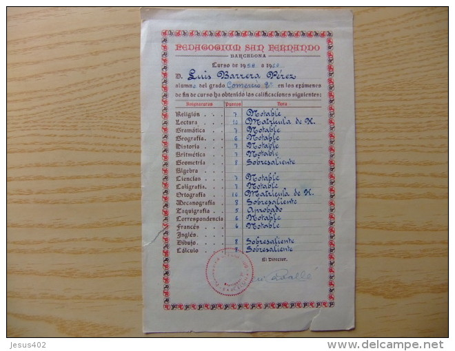 CALIFICACION ESCOLAR DE LUIS BARRERA PEREZ EN EL COLEGIO PEDAGOGIUM SAN FERNANDO BARCELONA CURSO 1958 /1960 - Diplomas Y Calificaciones Escolares