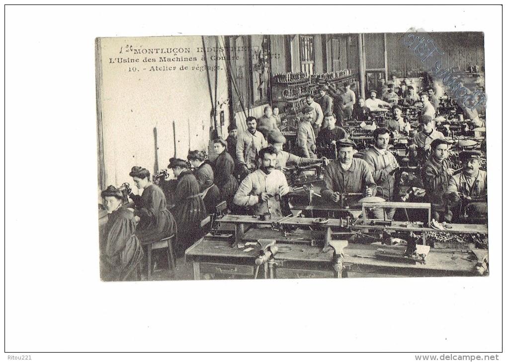 03 - MONTLUCON Industriel - L'usine Des Machines à Coudre Hurtu - Atelier De Réglage - Ouvrier Ouvrière N°10 - Montlucon