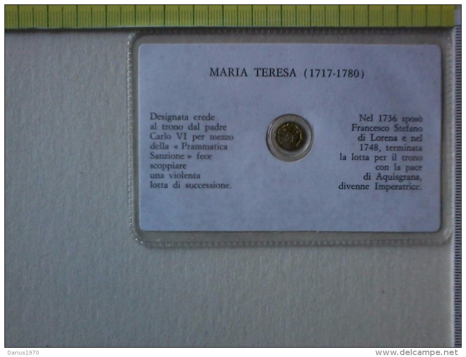 Sheda Con Medaglietta Di Maria Teresa D' Asburgo. - Non Classificati