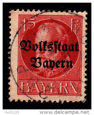 """BAVARIA - Scott #140 King Ludwig III """"Overprint"""" / Used Stamp - Bavaria"""