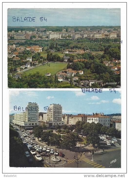 2 CPM - PAU (64) Vue Générale (belle Vue Aérienne) / Place Clémenceau - Pau