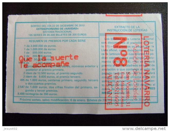 BILLETE DE LOTERÍA NACIONAL - SORTEO NAVIDAD 22/12/2010 - Nº 19933 - 20 € - Billetes De Lotería
