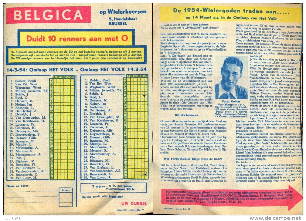 Pub Reclame Pronostiek Belgica Wielrennen - Cyclisme Omloop Het Volk 1954 - Met Regelement - Publicidad