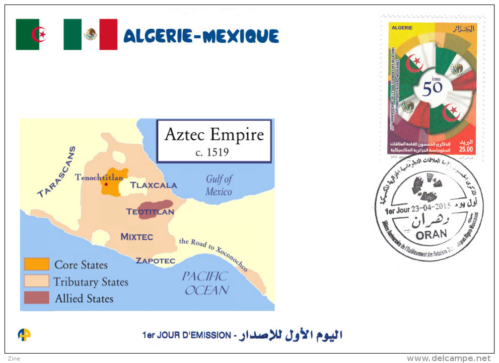 ALG Algeria N° 1712 FDC Aztec Empire Map - History - Aztec  Maya Mexico America - American Indians