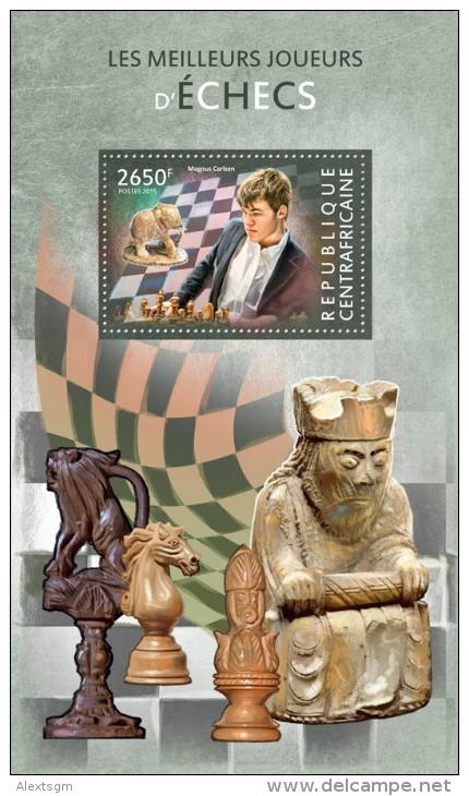 CENTRAL AFRICA 2015 - Chess: M. Carlsen S/S Official Issue - Schaken