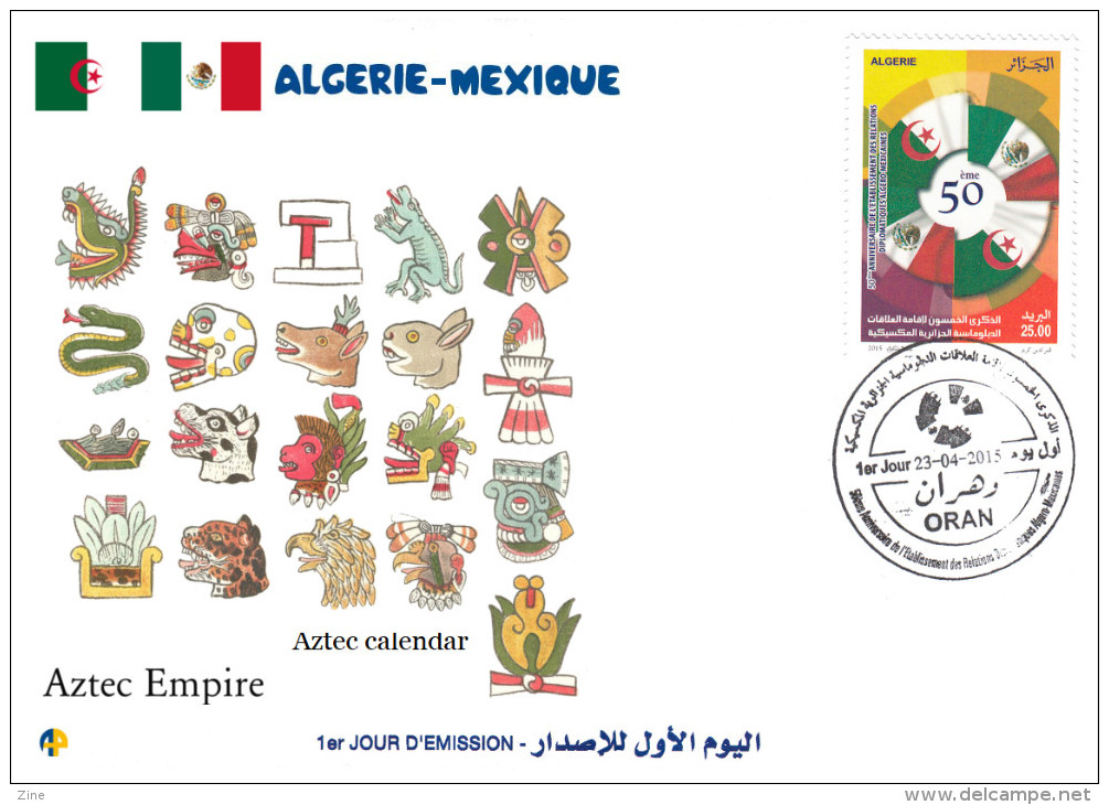 ALG Algeria N° 1712 FDC Aztec Empire - Aztec Calendar History - American Indians