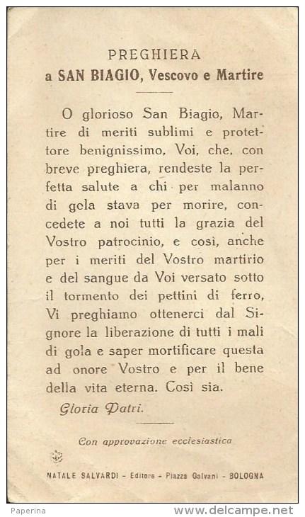 SANTINO ANTICHISSIMA EFFIGIE DI S. BIAGIO VENERATA NELLA CHIESA DELLA SS. TRINITA' IN BOLOGNA ED. SALVARDI - Santini