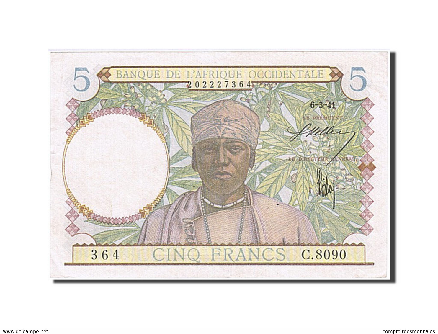 Afrique Occidentale, 5 Francs, Type 1934-1937 - Banconote