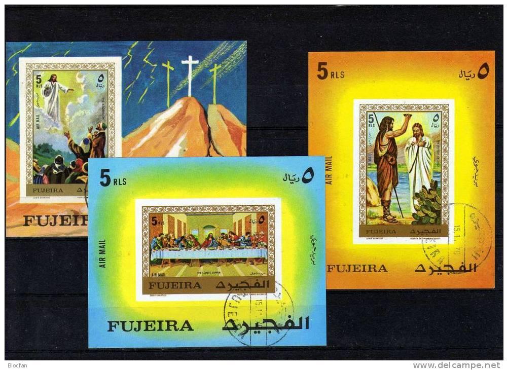 Gemälde Kreuzwegstation Jesus Christi 1970 VAE Fujeira 574/6+Block 29-31 O 15€ Taufe Jesu Painting Bloc Art Sheet Bf VAE - Fujeira