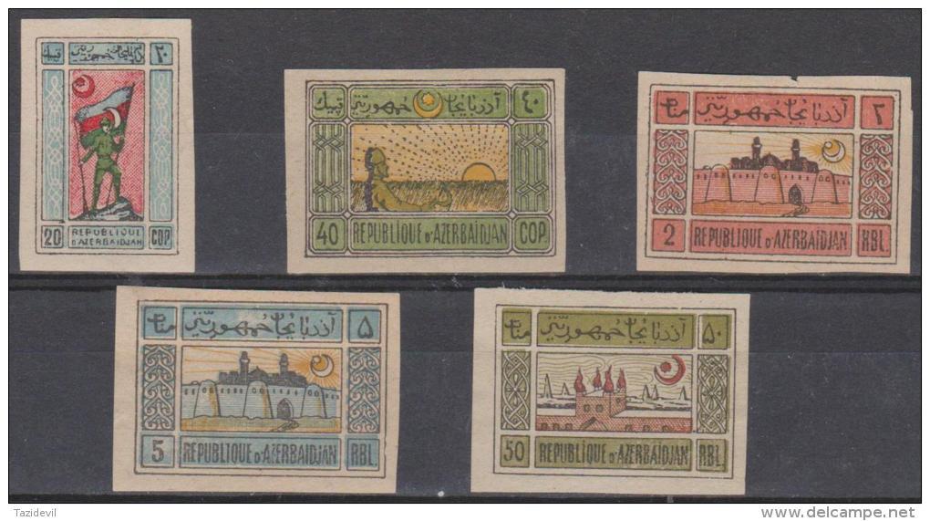 AZERBAIJAN - Five Different National Republic On White Paper. Mint Hinged * Odd Small Fault - Azerbaïjan
